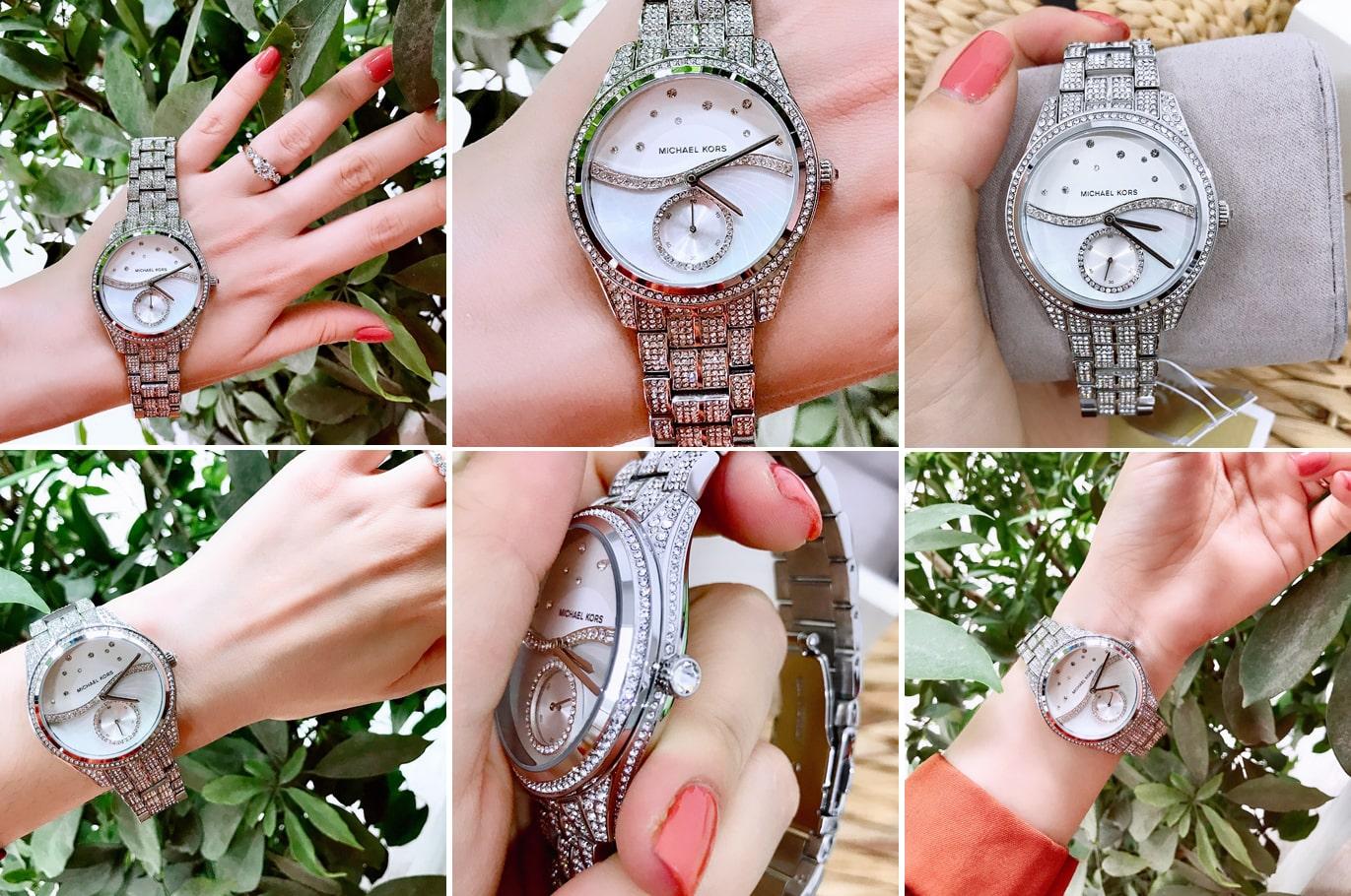 Hinh anh thuc te dong ho Michael Kors Lauryn Celestial Pavé Watch 38mm MK3755 ms 167800