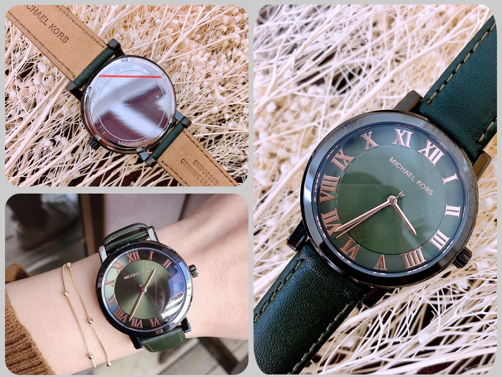 Hinh anh thuc te dong ho Michael Kors Norie watch Olive tone MK2701 ms 086750