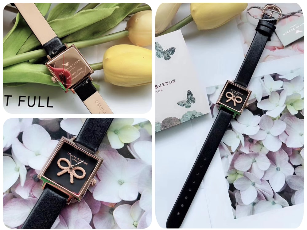 Hinh anh thuc te dong ho Olivia Burton Vintage Bow Black and Rose Gold Watch OB16VB03 ms 085600