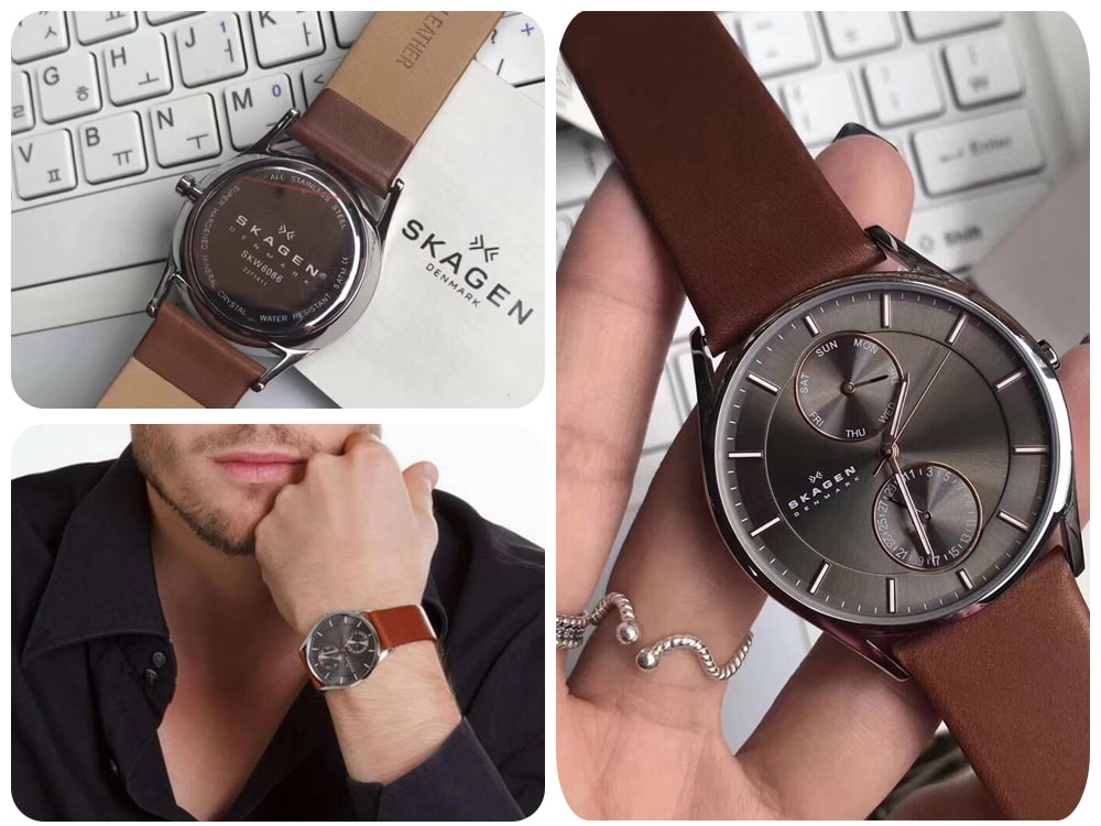 Hinh anh thuc te dong ho SKAGEN Holst Charcoal Dial Brown Leather Men's Watch SKW6086 ms 1145350